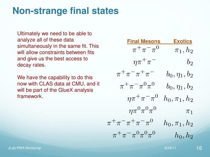 Non-strange final states