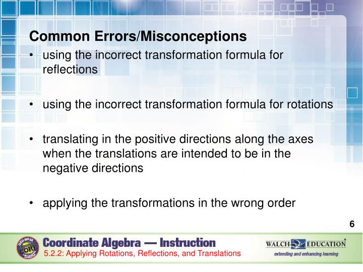Common Errors/Misconceptions