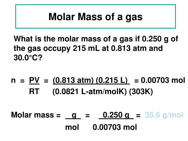 Molar Mass of a gas