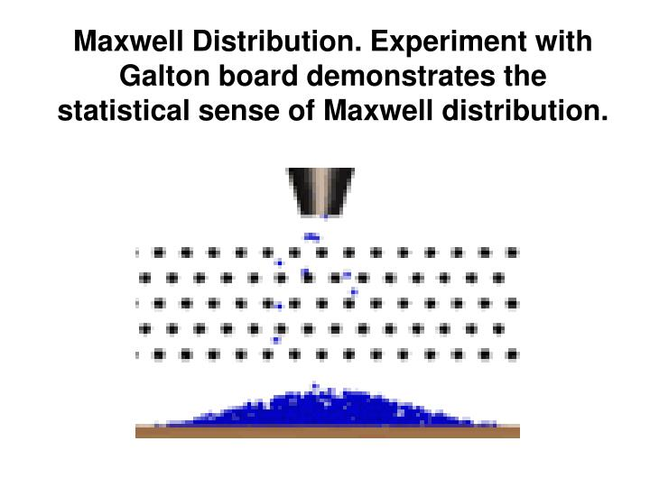 Maxwell Distribution. Experiment with Galton board demonstrates the statistical sense of Maxwell distribution.