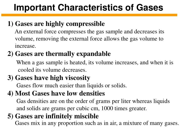 Important Characteristics of Gases