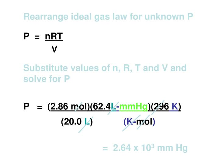 Rearrange ideal gas law for unknown P