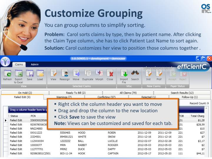Customize Grouping