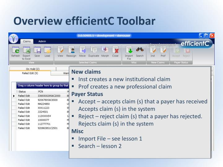 Overview efficientC Toolbar