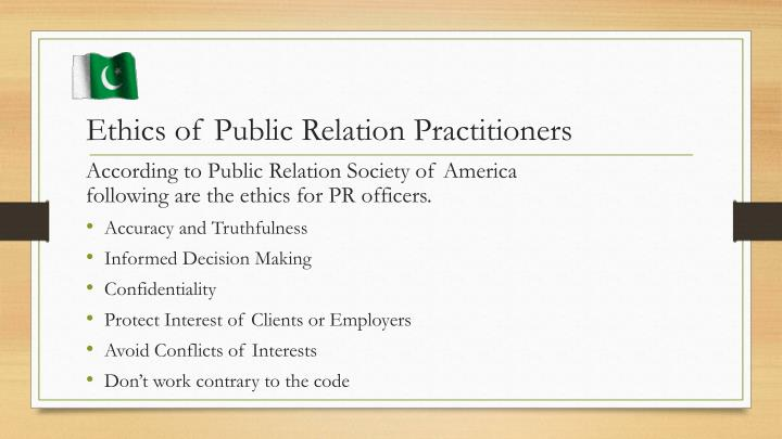 Ethics of Public Relation Practitioners