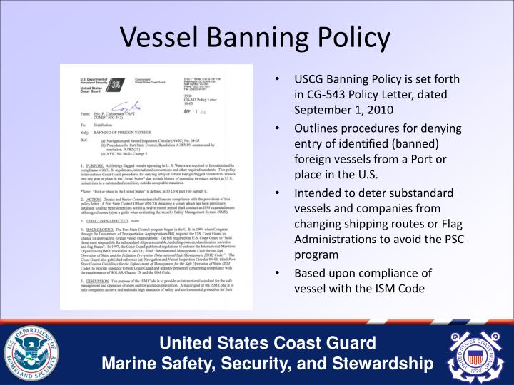 Vessel Banning Policy