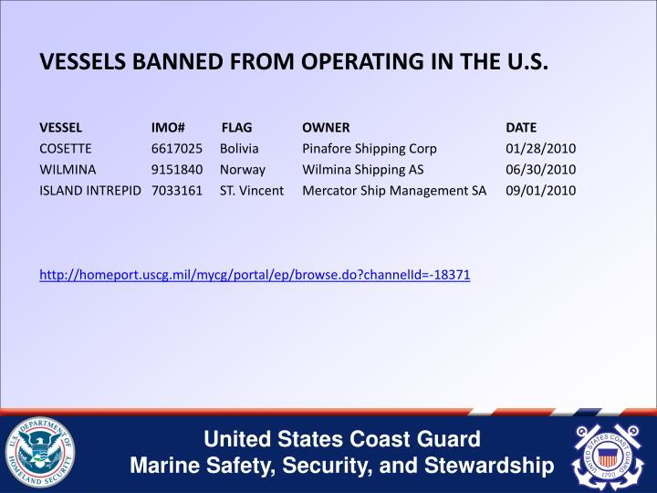 VESSELS BANNED FROM OPERATING IN THE U.S.