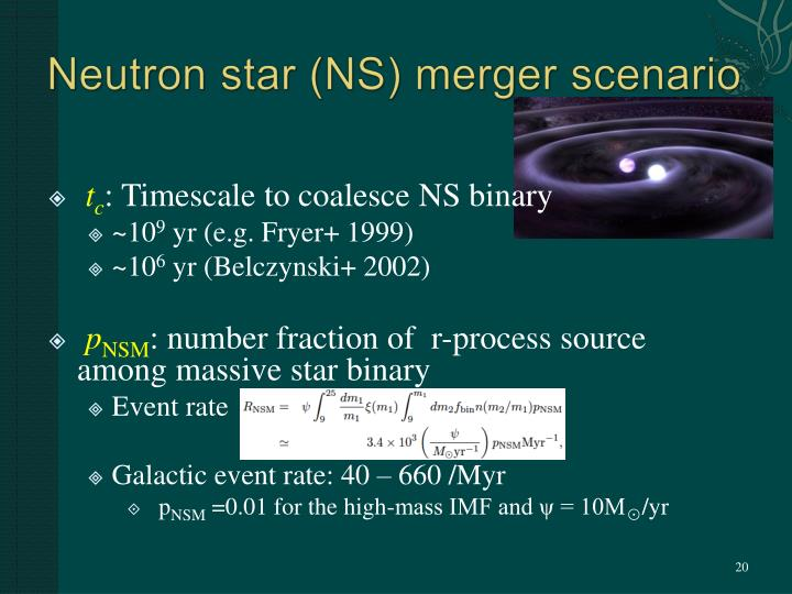 Neutron star (NS) merger scenario