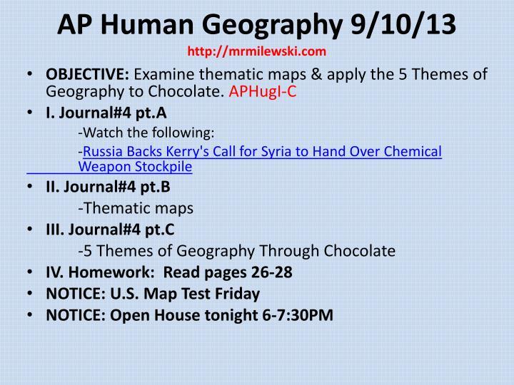 AP Human Geography 9/10/13