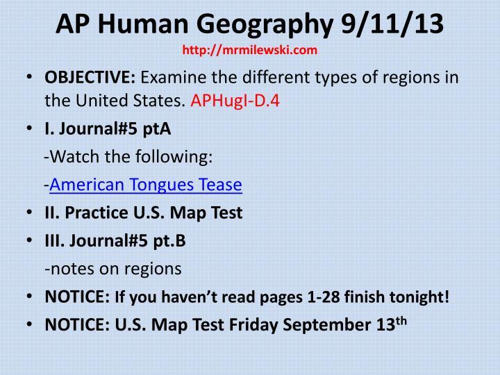 AP Human Geography 9/11/13