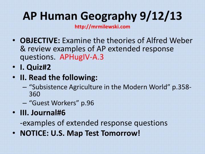 AP Human Geography 9/12/13