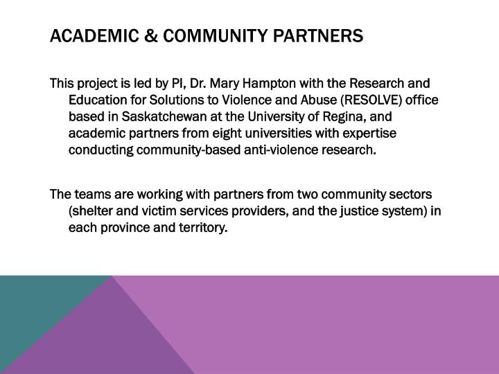Academic & Community Partners