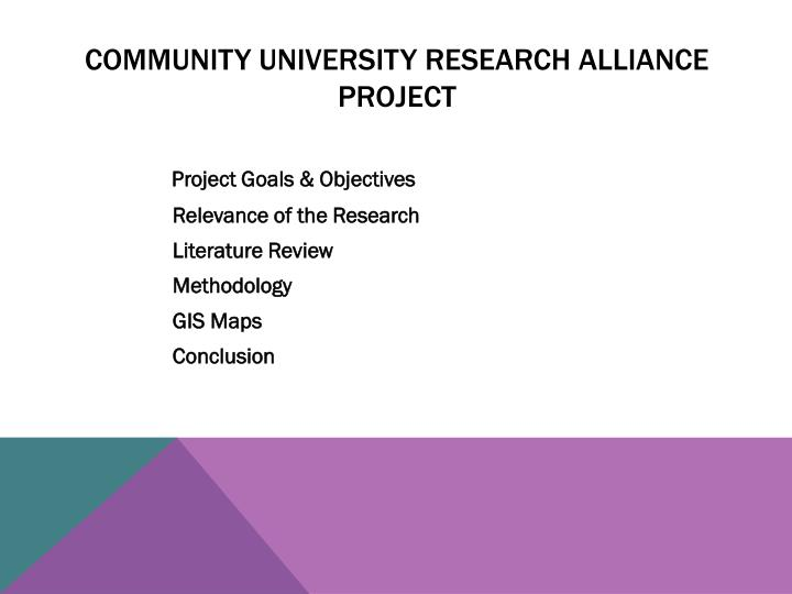 Community University Research Alliance Project