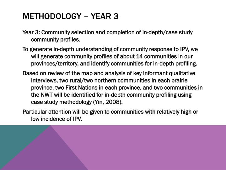 Methodology – year 3
