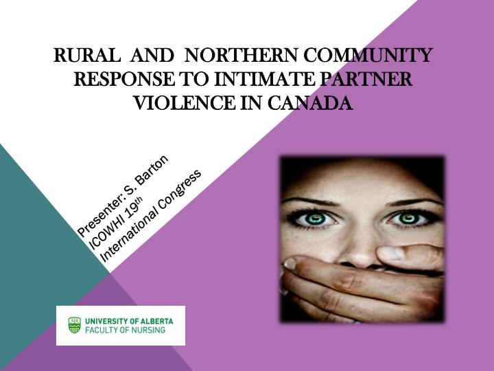 Rural and northern community response to intimate partner violence in canada