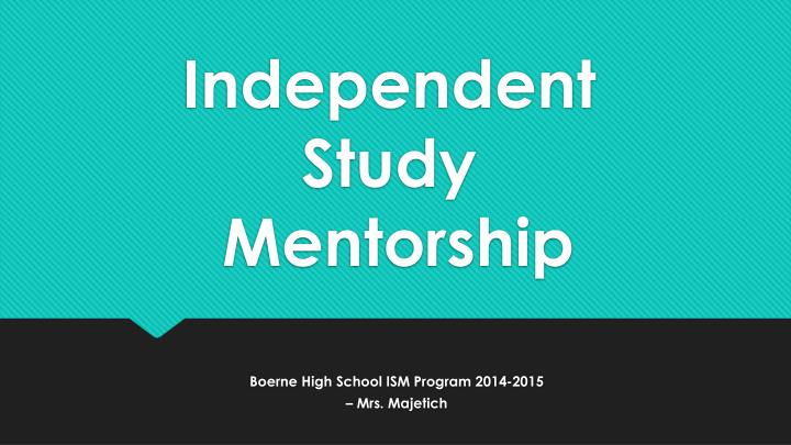 independant study This module provides an opportunity for you to work independently to develop a  study of your own choosing (subject to approval) at level 6 it enables you to.