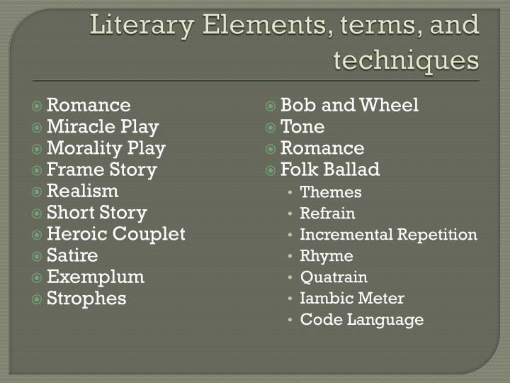 Literary Elements, terms, and techniques