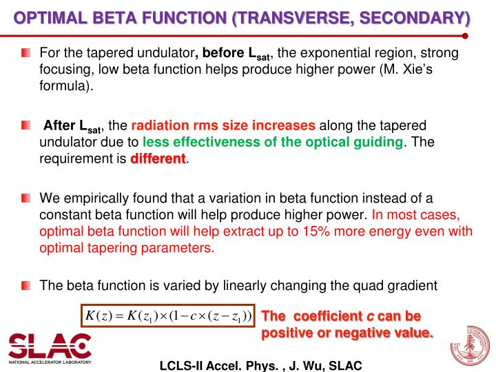 Optimal beta function (transverse, secondary)