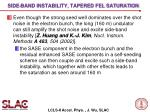 side band instability tapered fel saturation