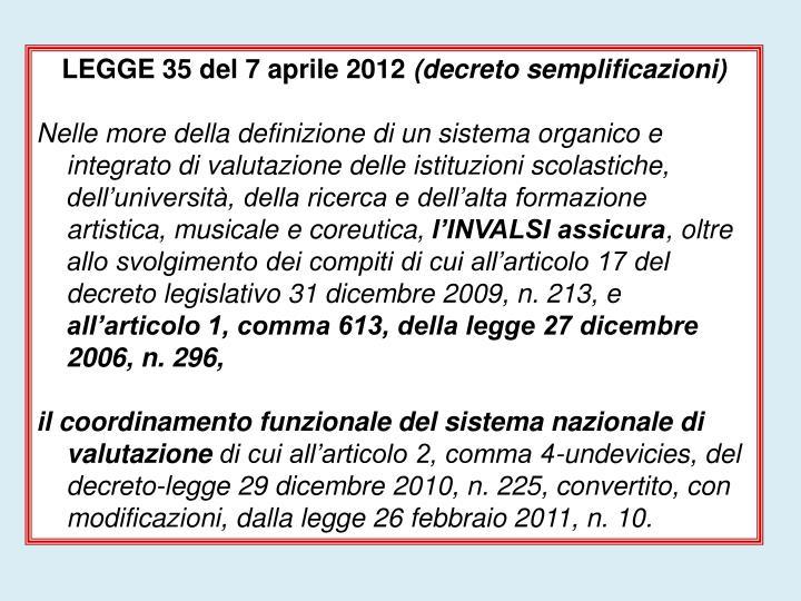 LEGGE 35 del 7 aprile 2012