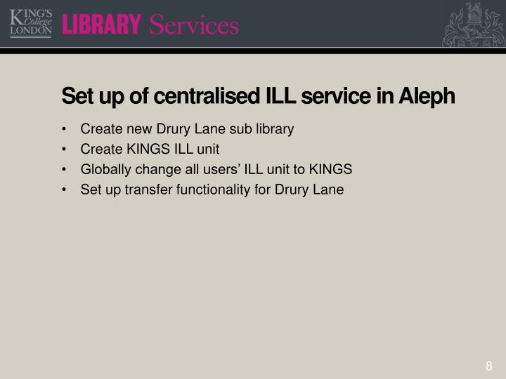 Set up of centralised ILL service in Aleph