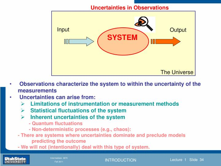 Uncertainties in Observations