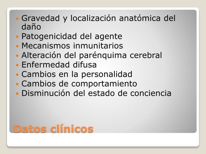 Gravedad y localización anatómica del daño