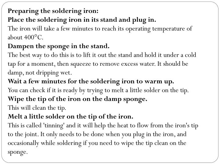 Preparing the soldering iron: