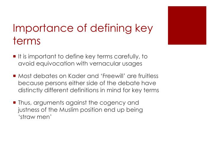 Importance of defining key terms