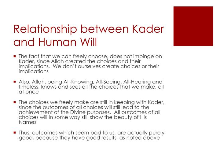 Relationship between Kader and Human Will