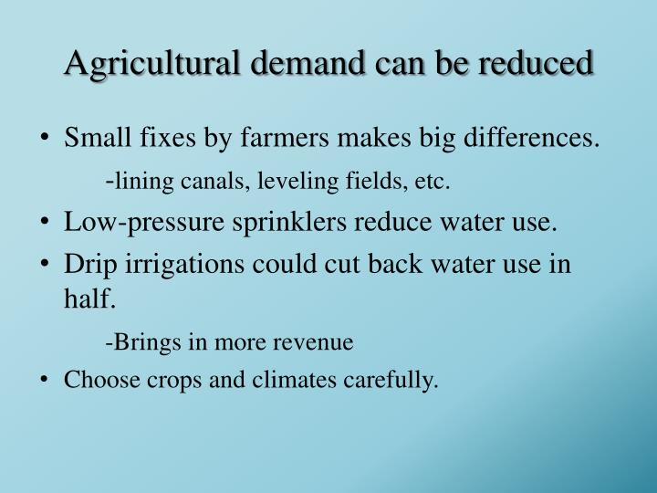 Agricultural demand can be reduced