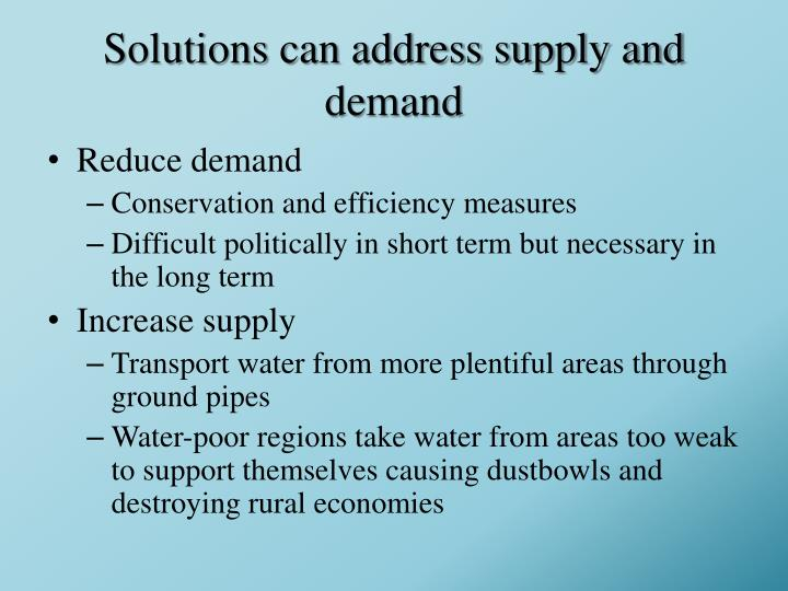 Solutions can address supply and demand