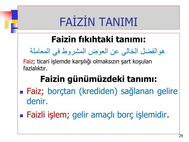 FAİZİN TANIMI