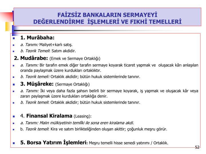 FAİZSİZ BANKALARIN SERMAYEYİ