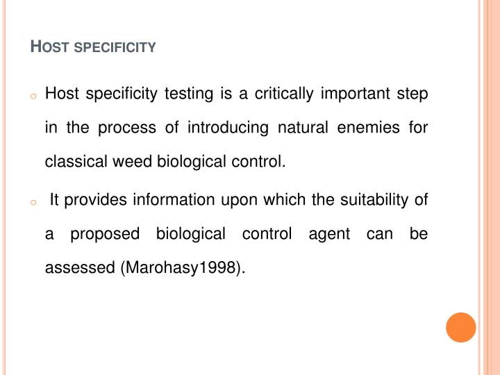 Host specificity