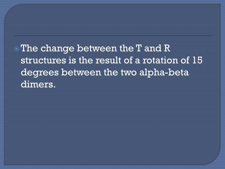 The change between the T and R structures is the result of a rotation of 15 degrees between the two alpha-beta dimers.
