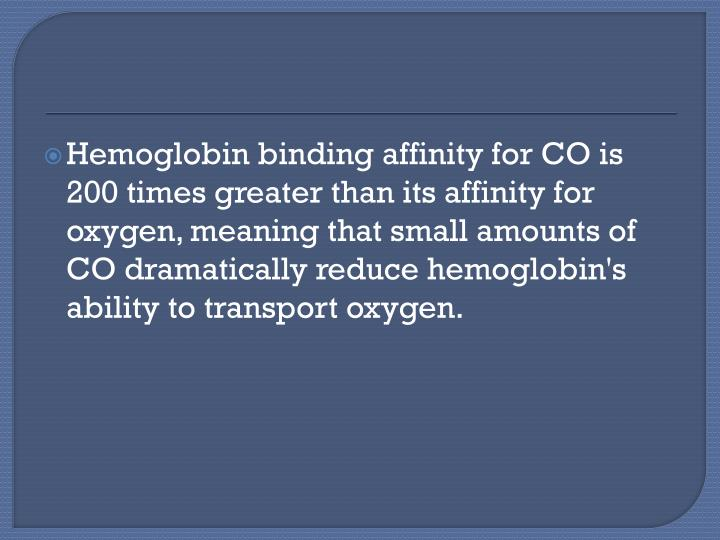 Hemoglobin binding affinity for CO is 200 times greater than its affinity for oxygen, meaning that small amounts of CO dramatically reduce hemoglobin's ability to transport oxygen.