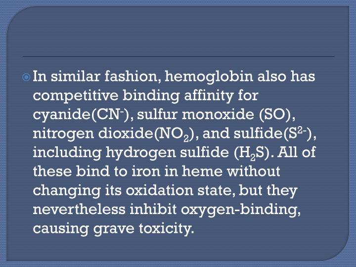 In similar fashion, hemoglobin also has competitive binding affinity for cyanide(CN