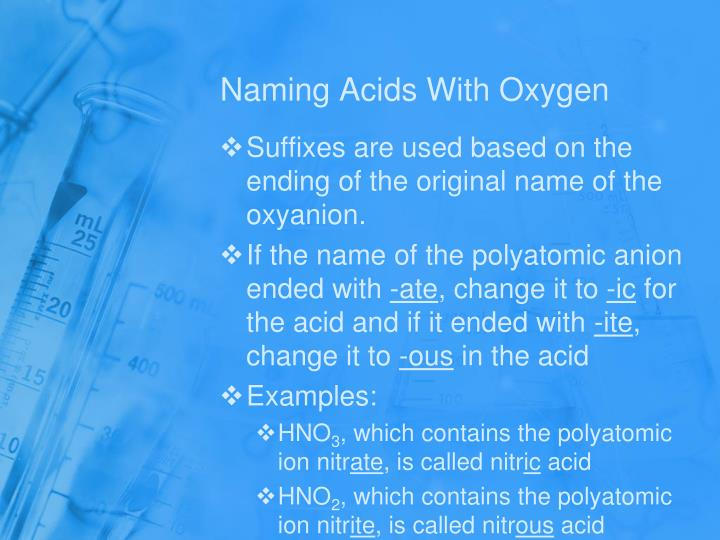 Naming Acids With Oxygen