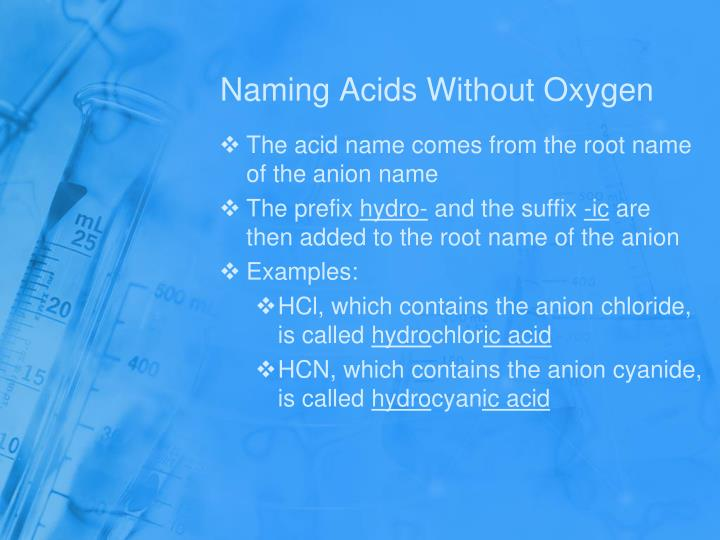Naming Acids Without Oxygen