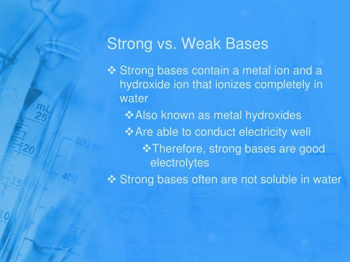 Strong vs. Weak Bases