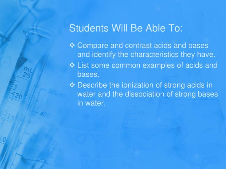 Students will be able to