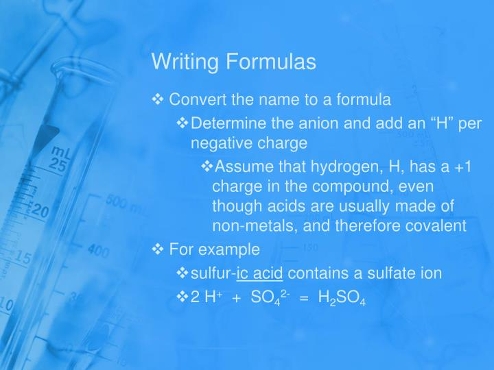 Writing Formulas