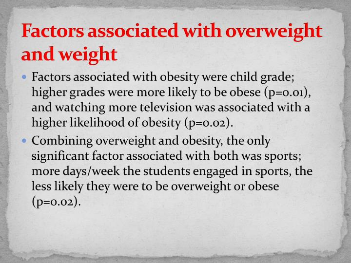 Factors associated with overweight and weight