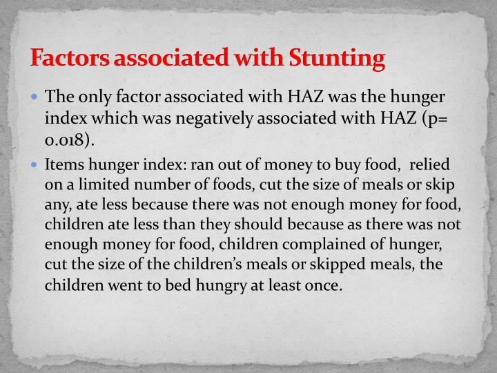Factors associated with Stunting