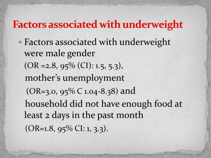Factors associated with underweight
