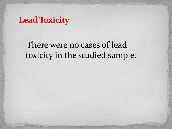 Lead Toxicity