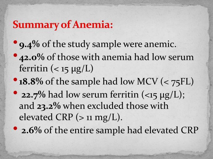 Summary of Anemia: