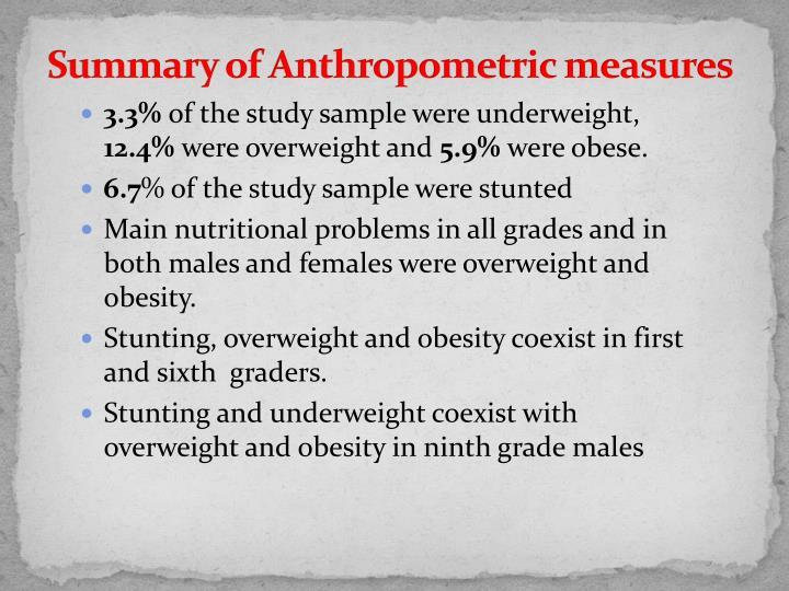 Summary of Anthropometric measures
