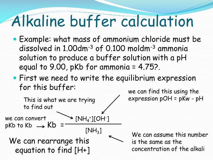 Alkaline buffer calculation
